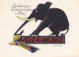 Der ab 1880 durch die Firma Otto Ring & Co. in Berlin hergestellte Klebstoff Syndetikon erlangte nicht zuletzt wegen seiner humorvollen Reklamegrafiken weltweite Bekanntheit. Der Zeichner Friedrich Wilhelm Kleukens setzte auf die Darstellung von Tieren, die in dem Leim kleben blieben.